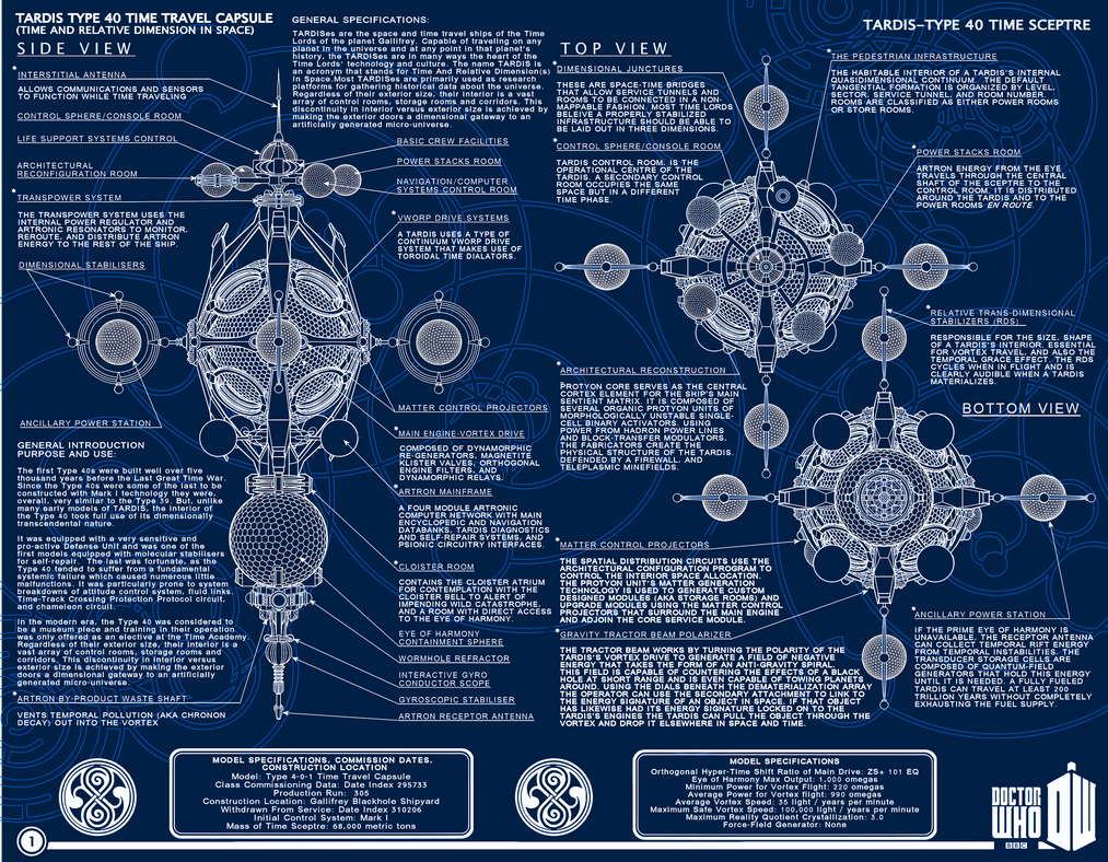 TARDIS Type 40 Schematic Blue Print style page 1 by Time-Lord ...
