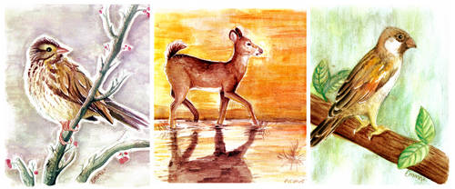 watercolour animals by thelunacy-fringe