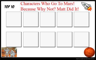 Blank Top 10 Characters Go To Mars Meme by raidpirate52