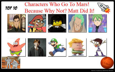 Top 10 Characters Who Go To Mars by raidpirate52