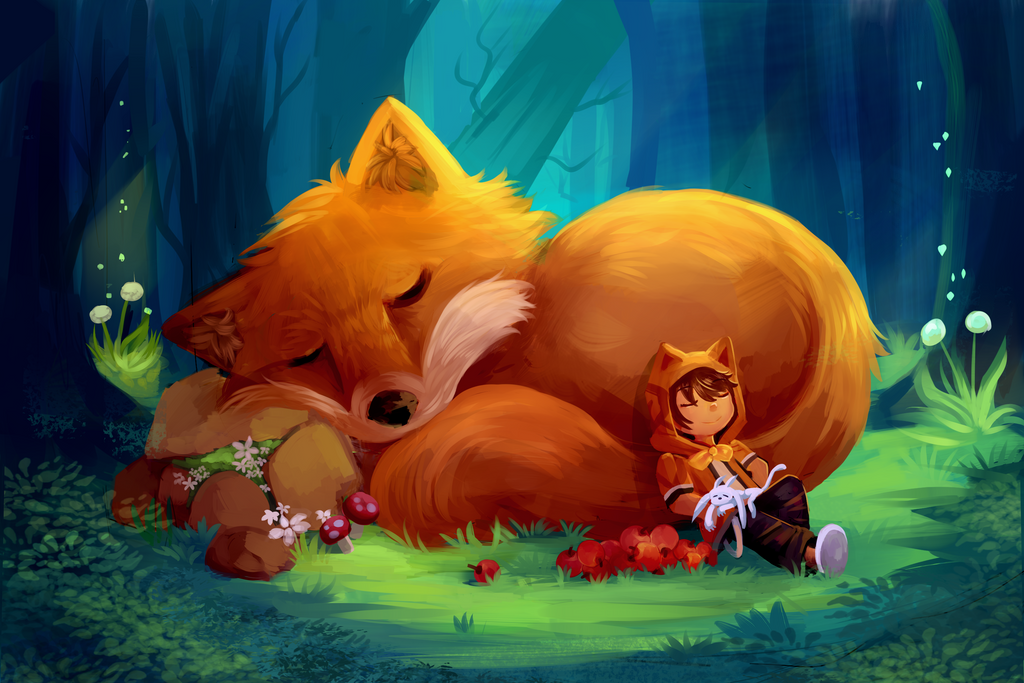 sleeping with a giant fox by ecoscribbles on deviantart