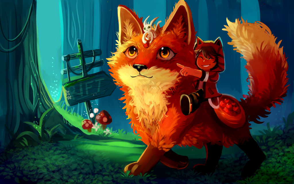 riding a giant fox by ecoscribbles on deviantart