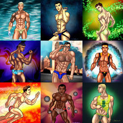 Super Heroes in their Logo Briefs...one year later by TumbledHeroes