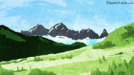 Mountains sketch by kingmancheng