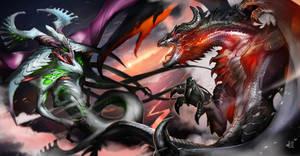 Dragon vs SpaceDragon by DoomGuy26