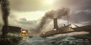 The Battle of Hampton Roads by Magnus-Strindboem