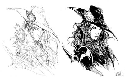Vampire Hunter D sketch n ink by WittA