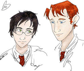 Harry and Ron doodlums by acciosnitch