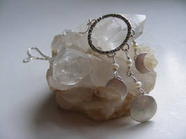 Triple Moon necklace w pearls by MoonLitCreations