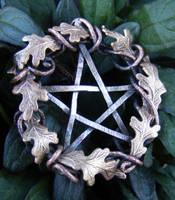 Fall Leaf Wreath Pentacle by MoonLitCreations