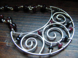 Moon Necklace Red and Black by MoonLitCreations