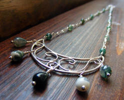 Moss Agate Moon Necklace by MoonLitCreations
