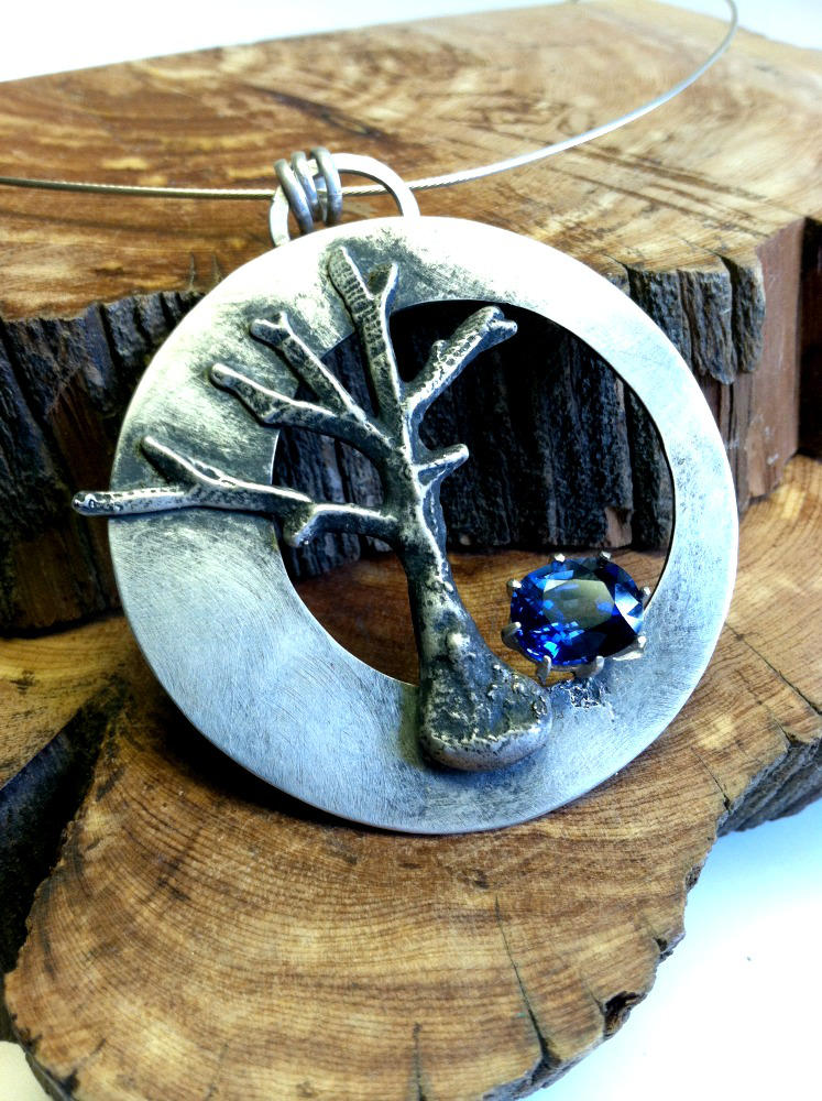 Sapphire Tree Necklace by MoonLitCreations