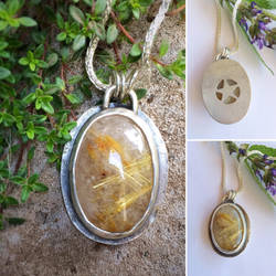 Rutilated Quartz Hidden Pentagram Necklace  by MoonLitCreations