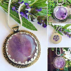 Amethyst Hidden Pentagram Necklace  by MoonLitCreations