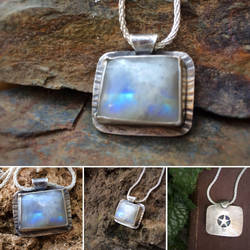 Moonstone Hidden Pentagram Necklace  by MoonLitCreations