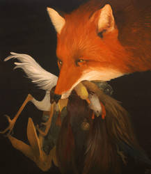 PAINTING: Greedy fox by villainesayre