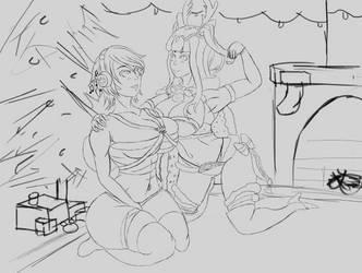 Aqua Tharja Christmas (Sketch) by Cyn1calRobot