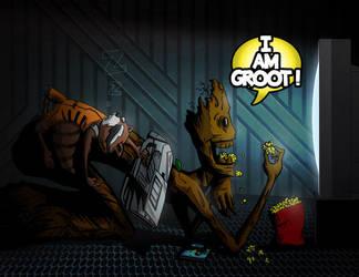 Rocket Racoon And Groot Bro Time by joemanoh