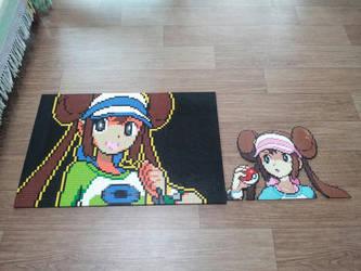 Pokemon BW2 VS Rosa(Lego Mosaic,Sprite,Mugshot) by skyin2020