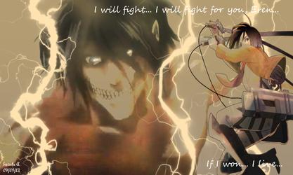 Eren Jaeger - Mikasa Ackerman [Fight!] by SuzukeAmaterasu