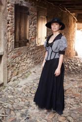 Striped corset and bolero by sombrefeline
