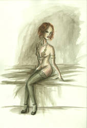 Venus in nylons and furs by sombrefeline