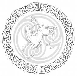 Celtic unicorn line art by Mystalia