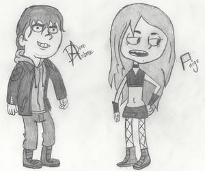 Sketch 11: Dean Ambrose and Paige, Camp WWE by QuirkyRenegade