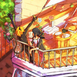 Miraculous Ladybug: Balcony Breakfast by Pidoodle