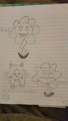 Flowey and Temmie Drawings by Sinclair5198