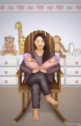 Cradling Twins by cha-ji