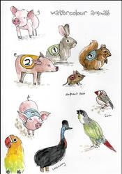 watercolour animals 2 by elbooga