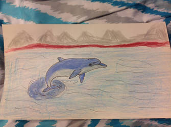 Dolphin jumping out of the sea by PhatPandaPo23