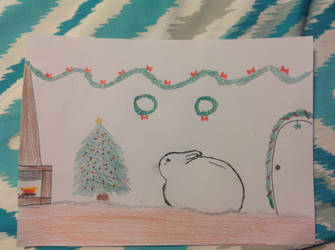 Artic Hare looking over Christmas decorations by PhatPandaPo23