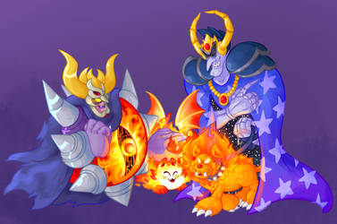Fire cats by R1nRina