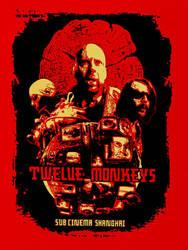 12 Monkeys Silk Screened Movie Poster by r-k-n