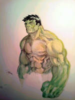 WIP: Hulk - First pass Watercolors by dreamflux1