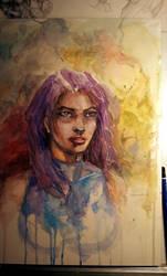 Psylocke Watercolor by dreamflux1