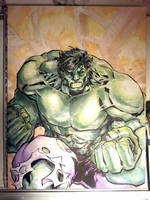 Watercolored and Inked Incredible Hulk by dreamflux1