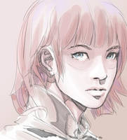 Digital Speed sketch - Girl in Pink. by dreamflux1