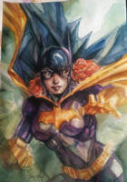 Watercolor Classic Batgirl by dreamflux1