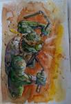 Michelangelo - TMNT - Watercolor by dreamflux1