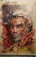 Dr. Strange Watercolor Portrait by dreamflux1