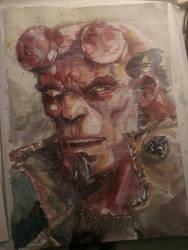 Hellboy watercolor portrait by dreamflux1
