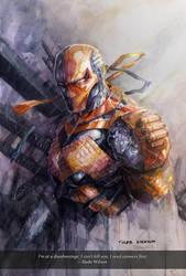 Deathstroke - watercolor by dreamflux1
