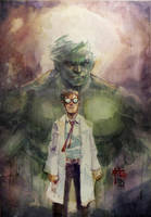 Banner's Shadow - Incredible Hulk - Watercolor by dreamflux1