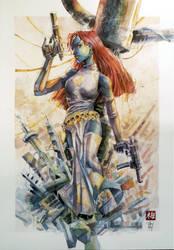Mystique Fatale  - Watercolor - X-Men by dreamflux1