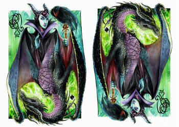 Maleficent, The Queen of Spades - Watercolor by dreamflux1