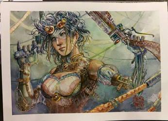 Lady Mechanika - Watercolor - Steampunk by dreamflux1
